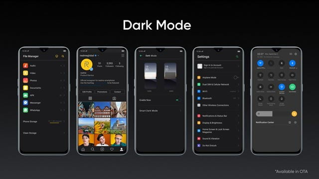 realme latest update new feature dark theme